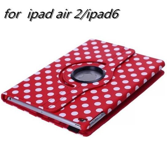 freeshipping new Original luxury 360 degrees big polk dot pu leather case back cover case For Apple ipad air 2 ipad 6 wholesale(China (Mainland))