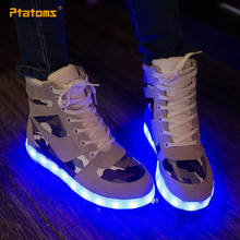 2015 Glow In The Dark Shoes Women Fashion Sneakers USB LED Camouflage Light Shoes For Adults Luminous Girls Men Couples Footwear(China (Mainland))