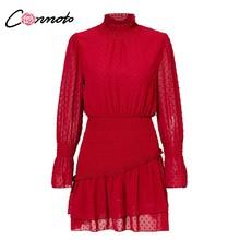 Conmoto גולף מנוקדת סתיו חורף שמלת נשים ארוך שרוול מנוקדת רטרו שמלה אדום המפלגה מקרית Ruched שמלת Vestidos(China)