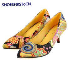 Fashion Party Woman Shoes Pointed Toe Slip on Women Pumps Flowers Design Red Bottom High Heels