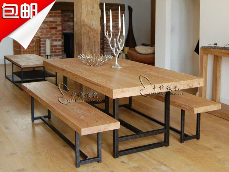 Iron Wood Slabs Long Dining Table Combination Living Room Coffee Table Coffee Table Casual