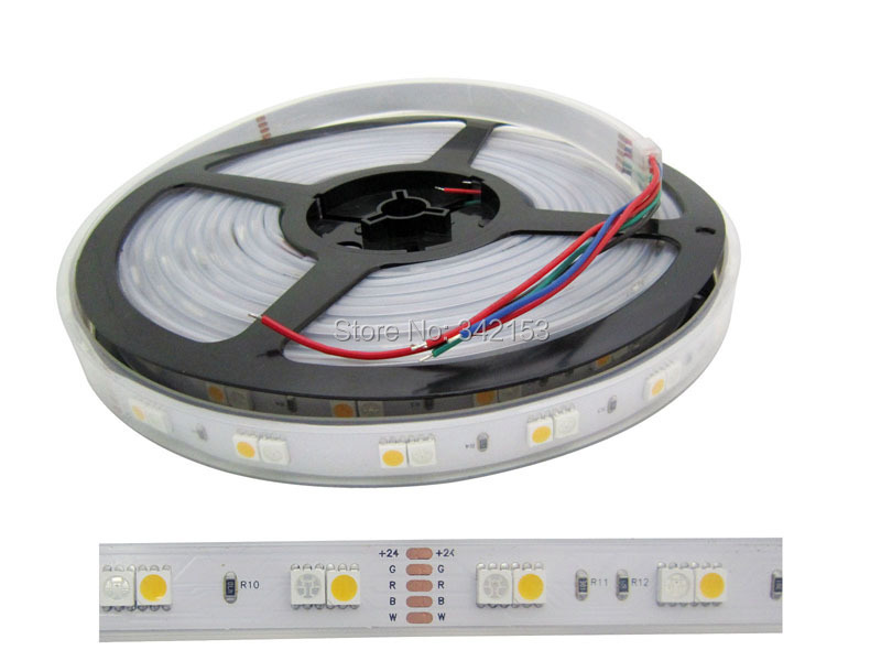 10M 360LEDS White PCB 5050 RGB + Warm White LED Strip Light Waterproof 24V 4A RGB Led Strip Light(China (Mainland))
