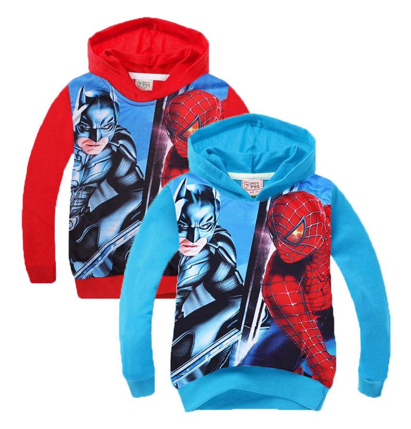 2016 Spiderman/Batman Children hoodie outwear Cartoon Spider man Printed Character sweatshirt Long Sleeve coat Christmas(China (Mainland))