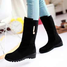Fashion warm Winter Women's shoes Big size 30-50 metal decoration High Heels Slip-On black and brown snow Boots HQW-9699(China (Mainland))