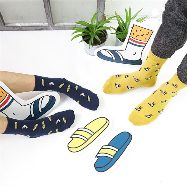 Корейский новинка тапочки иллюстрации носки женщины и мужчины творческийстиль мультфильм в трубке носки милый чистый хлопок обычный носок для любителей