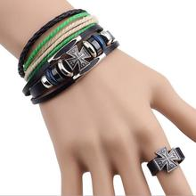 Factory Wholesale Suite Three-piece Real Leather Bracelet Cross Ring Jewelry Sets 12sets/lot Free Shipping(China (Mainland))