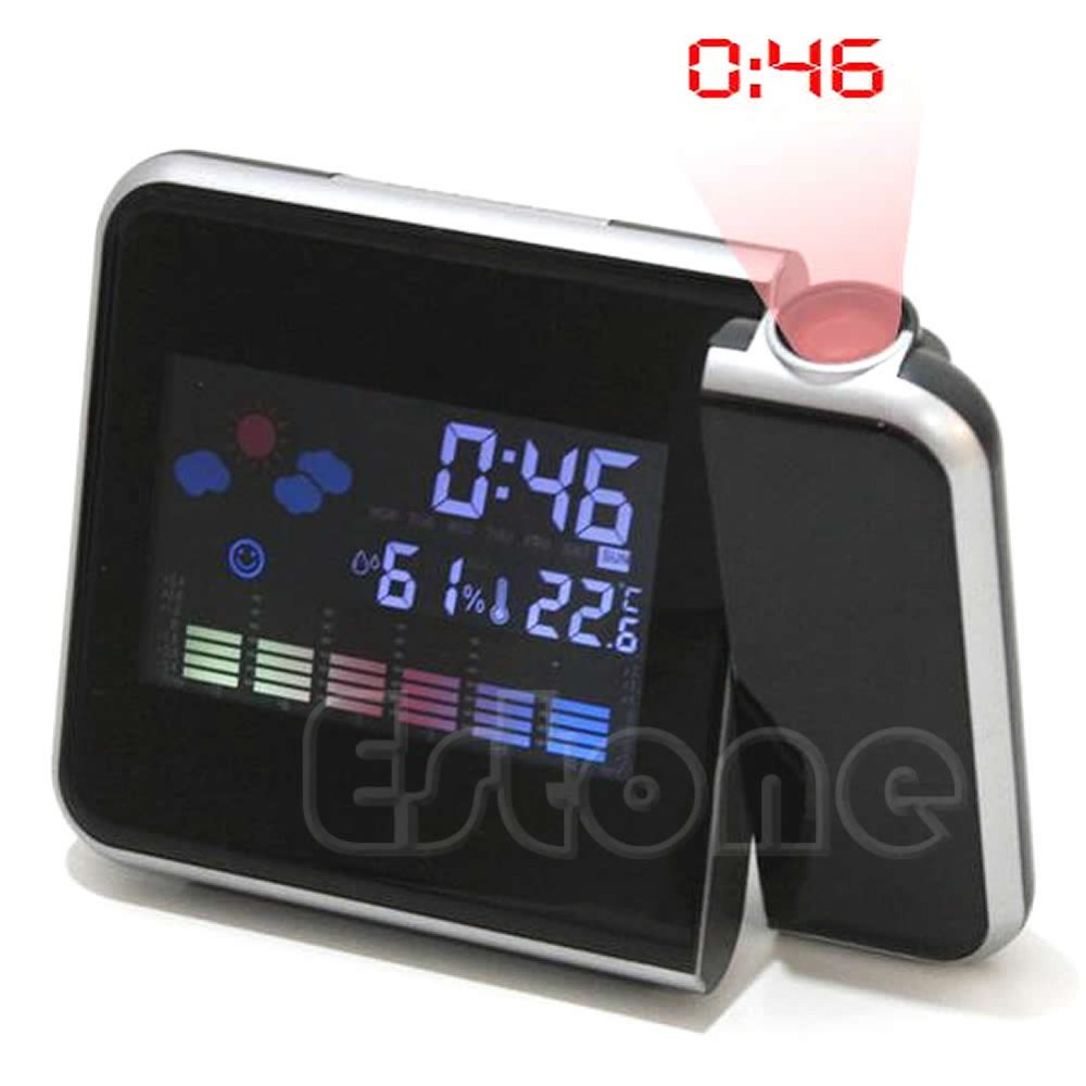 E74 1PC Digital LCD LED Projector Alarm Clock Projecting Weather Station Thermometer(China (Mainland))
