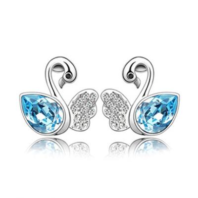 2016 goddess simple luxury accessories fashion business trinkets popular Austrian crystal earrings - Swan(China (Mainland))