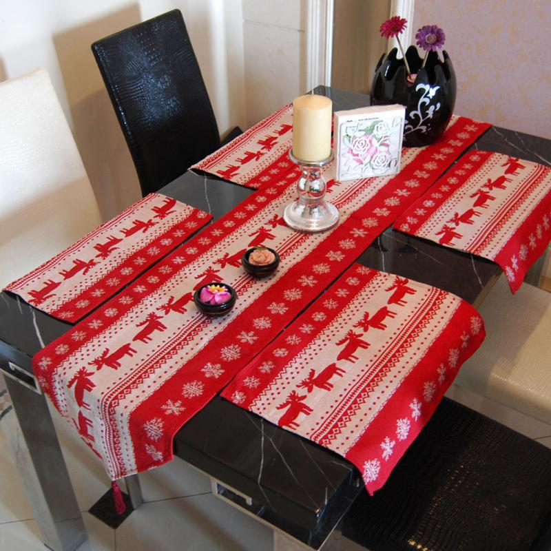 4pcs Tapestry Table Linen Place Mats Vintage Lovely Red Christmas Elk Deer Christmas Tablecloth Placemat(China (Mainland))
