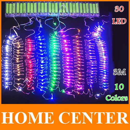 10Colors 4.5V 9.8ft 3M 30Led silver wire battery operated led string lightsChristmas lights Led Wedding Holiday Decoration(China (Mainland))