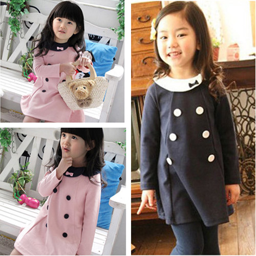 New Spring and Autumn Retail Elegant Double-breasted Bowknot Dress Kids Children Dresses Girls Princess Baby Girl Dress(China (Mainland))
