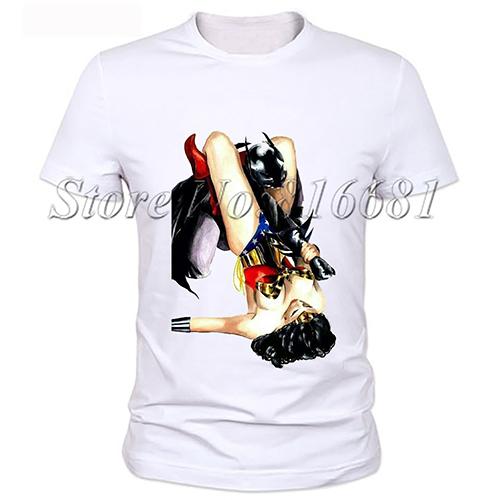 Newest style t shirt men t shirt funny batman&wonder girl anime print men's t shirts Hot models casual t-shirts(China (Mainland))