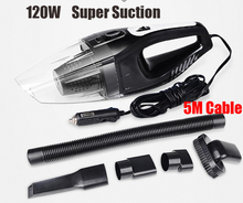 Auto Accessories Portable 5M 120W 12V Car Vacuum Cleaner Handheld Mini Super Suction Wet And Dry Dual Use Vaccum Cleaner For Car(China (Mainland))