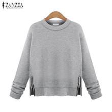 Buy ZANZEA Women Casual Hoodies Sweatshirts 2016 Autumn O Neck Long Sleeve Fleece Solid Blusas Tops Zip Split Pullovers Plus Size for $9.93 in AliExpress store