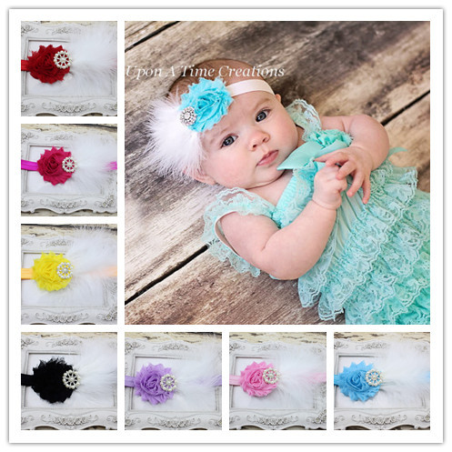Aqua Blue and White Feather Headband for Baby Girl Hair Accessories Flower and Sparkling Rhinestone headband 10pcs/lot(China (Mainland))