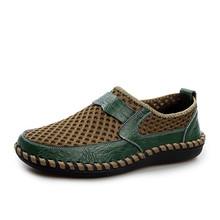 MIXIDELAI Echtem Leder Sommer Atmungsaktive Soft Männlich Mesh Schuhe Für Männer Erwachsenen Walking Casual Qualität Licht Net Schuhe 2019(China)