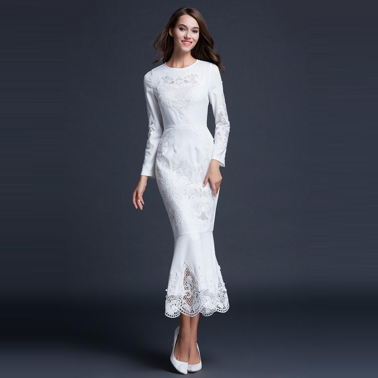 Best Quality New Luxury Designer Fashion Long Dress 2015 Autumn Winter Women Hollow Out Embroidery Long Sleeve Mermaid Dress XL(China (Mainland))