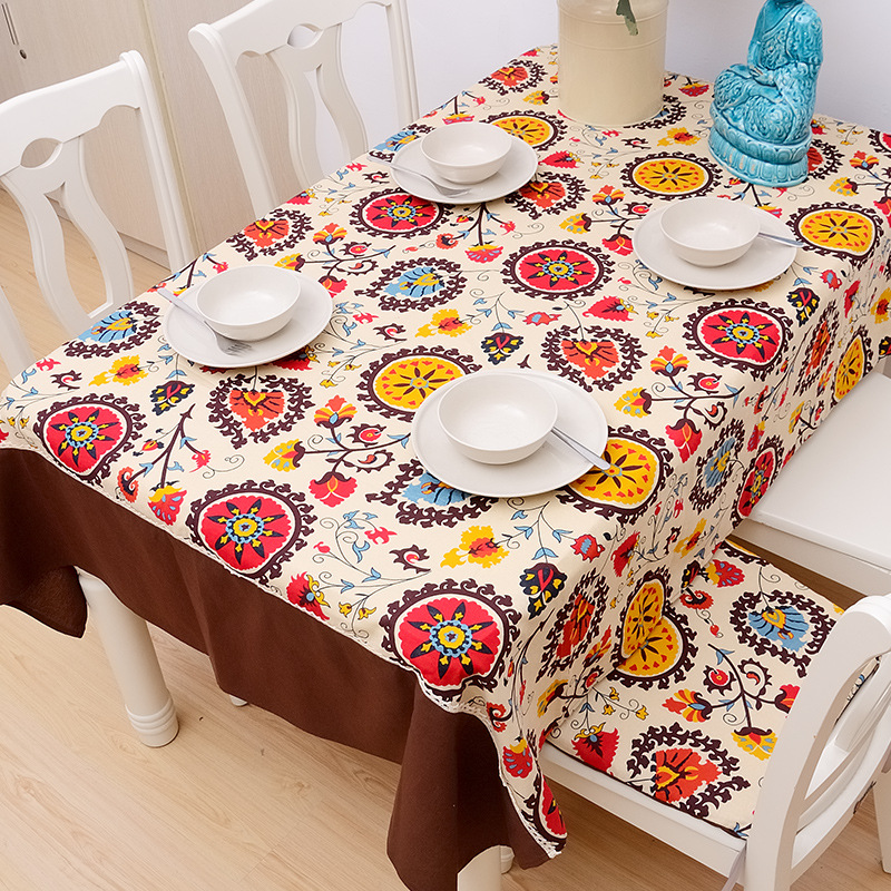 Buy folkstyl rectangular exotic flowers printing tablecloth cotton lace fabric - Manteles mesa rectangular ...