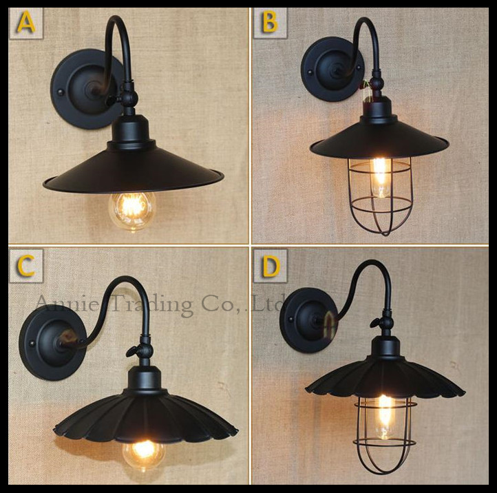 Classical Black Bending Arm wall lights, Wrought Iron Metal shade home room warehouse vintage Antique wall sconce lights fixture(China (Mainland))