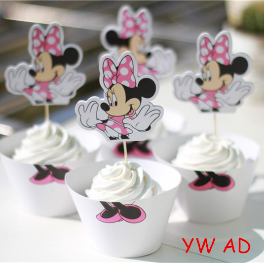 24pcs,12SET/LOT , New Cute Wedding Party Decoration Cup Cake Picks Minnie Mouse Cupcake Wrappers and Toppers(China (Mainland))