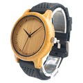 BOBO BIRD New Fashion Bamboo Wood Watches Soft Silicone Straps Japan Movement 2035 Quartz Watch for