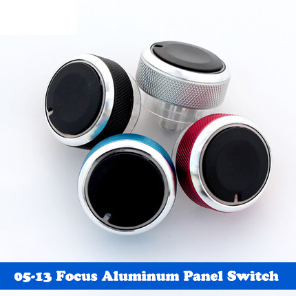 Car Air Conditioner Control Knobs Aluminum Panel Switch For Ford Focus Black/Silver/Red/Blue(China (Mainland))