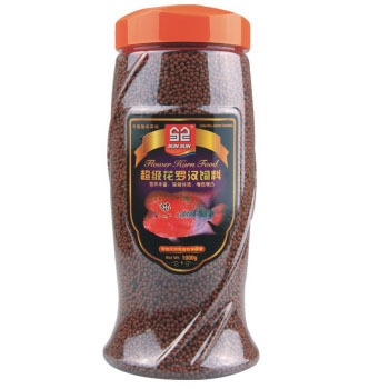Pure natural flower horn cichlid pet fish food adding astacin \spirulina red-coloring the fish head 2mm particle shape(China (Mainland))