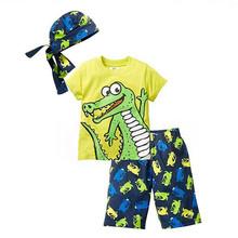 Retail 2016 New Summer children clothing set boy child scarf+short sleeve t-shirt+shorts 3pcs beach suit kids clothes(China (Mainland))
