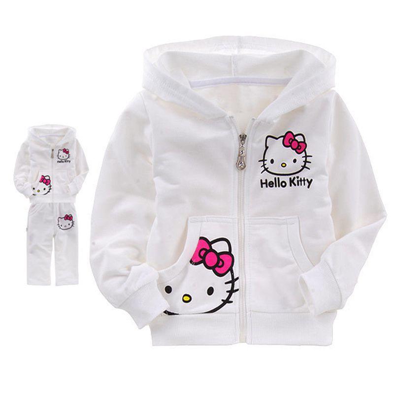 Girls Baby Suit Childrens clothing set pink suit kids suit Hello Kitty suit KT cartoon cat Shirt+Pants 2Pcs Retail<br><br>Aliexpress