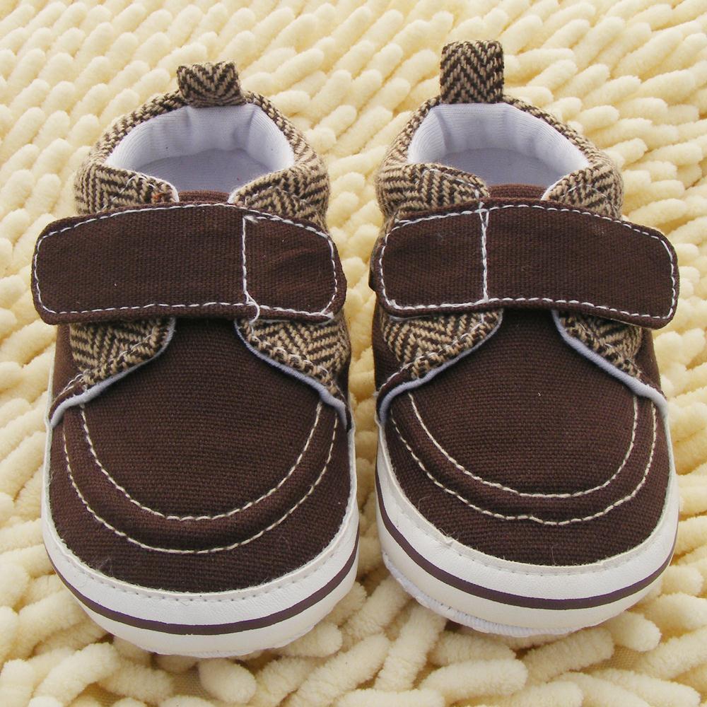 Hot Sale Newborn Toddler Baby Boy Girl Soft Sole Cotton Crib Shoes Velcro Prewalker Coffee Color 0-18M