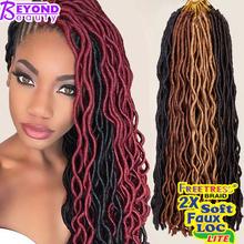 2x Wavy Janet Collection Havana Mambo Faux Locs 24Roots Faux Locs Crochet Hair Extensions 24'' Crochet Braids Goddess Faux Locs(China (Mainland))