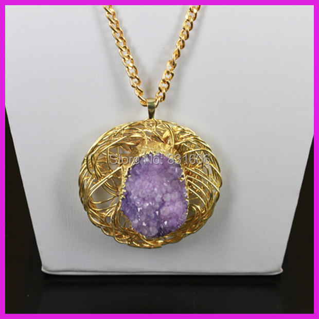 5pcs/lot Special Purple Druzy Stone Jewelry,Crystal Agate Charm Pendant, 22K Gold Chain Neckalce Never Fade Wedding Gift<br><br>Aliexpress