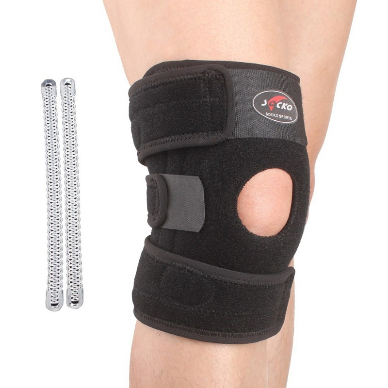 Free Shipping Adjustable Sports Leg Knee Support Brace Protector Pads Sleeve Cap Patella Guard 2 or 4 Spring Bars,One Size,Black(China (Mainland))