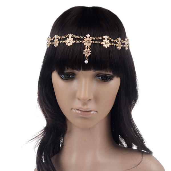 Fashion New Women Metal Rhinestone Pearl Head Chain Bridal Jewelry Headband Elastic Hair Band Accessories(China (Mainland))