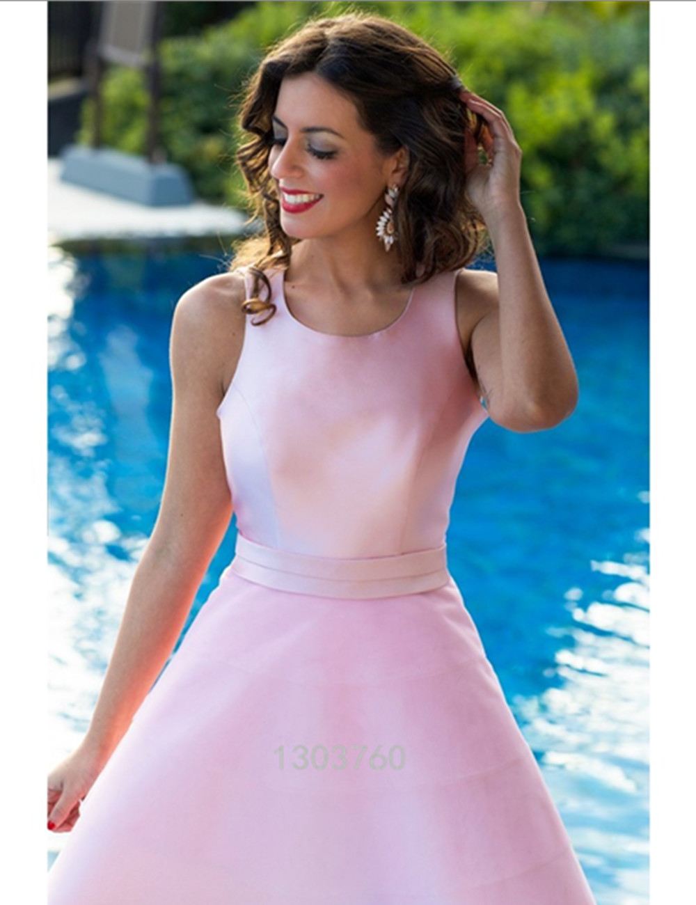 Сексуальная Спинки Розовый Пояса Короткие Homecoming Платья 2016 Scoop Пром Платья Лук Халат Де Коктейль Атласное платье