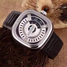 2015 new Seven Friday M2-1 Ion Plated Stainless Steel Case M1-1 Black Calfskin Mineral Men's Watch SevenFriday Gent wristwatch