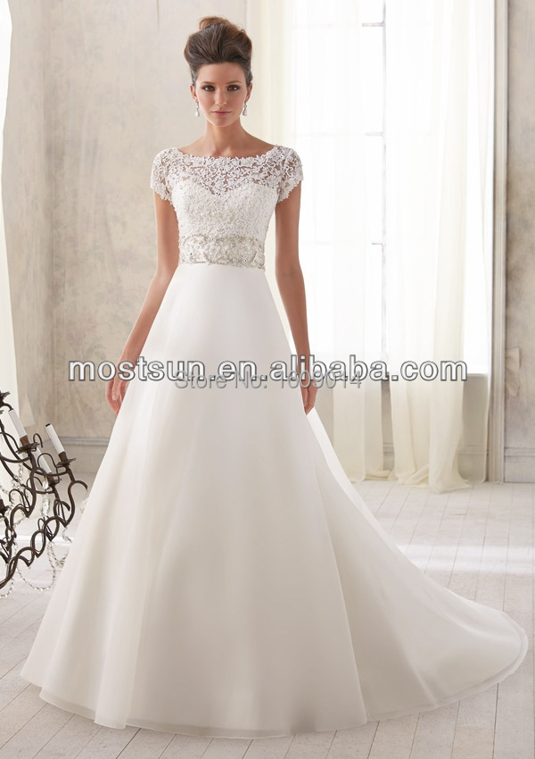 Free shipping wd854 a line organza skirt lace top wedding for Short wedding dresses for sale