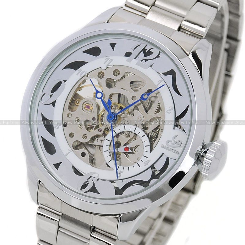 2015 SHENHUA Silver Watch Men Skull Auto Mechanical Watch Wristwatch  Gift With Box Free Ship<br><br>Aliexpress