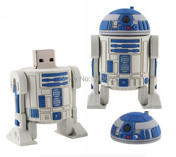 W3 Hot Sale Cartoon Cute Star Wars R2D2 Enough 8GB USB Flash Drive Memory Stick Pen Drive Flash Card Key(China (Mainland))