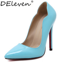 New Autumn Classics Womens Black Blue Yellow Sexy Red Sole Flounce Point Toe Evening Party Dress Stilettos High Heel Shoes Pumps(China (Mainland))