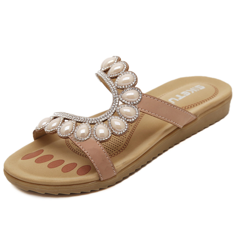 2016 Latest Rhinestone Sandals Luxurious Diamond Trim Flat With Summer Sandals Soft Breathable Shoes And  Girl Indoor Slippers<br><br>Aliexpress