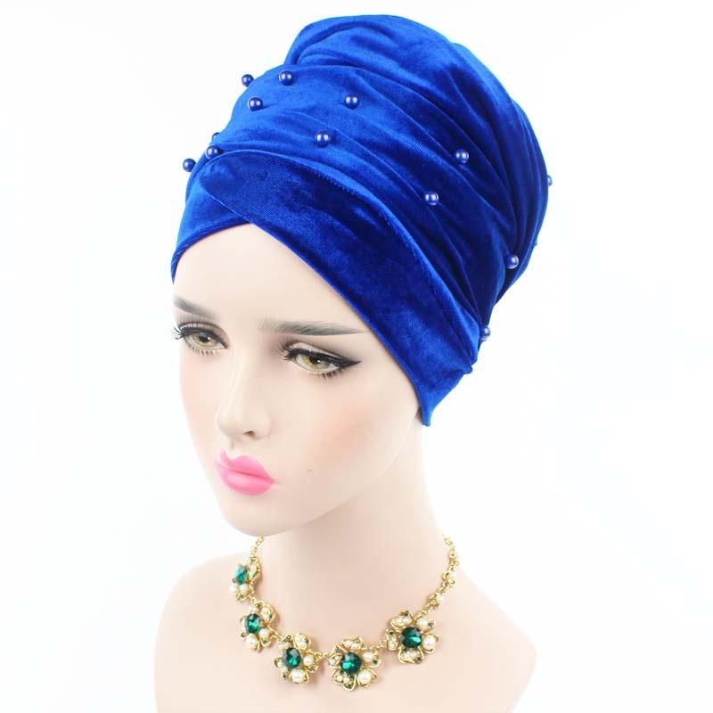 2017 New women beaded pearled velvet long scarf head wrap muslim hijab tube head scarf tie turbante free shipping(China (Mainland))