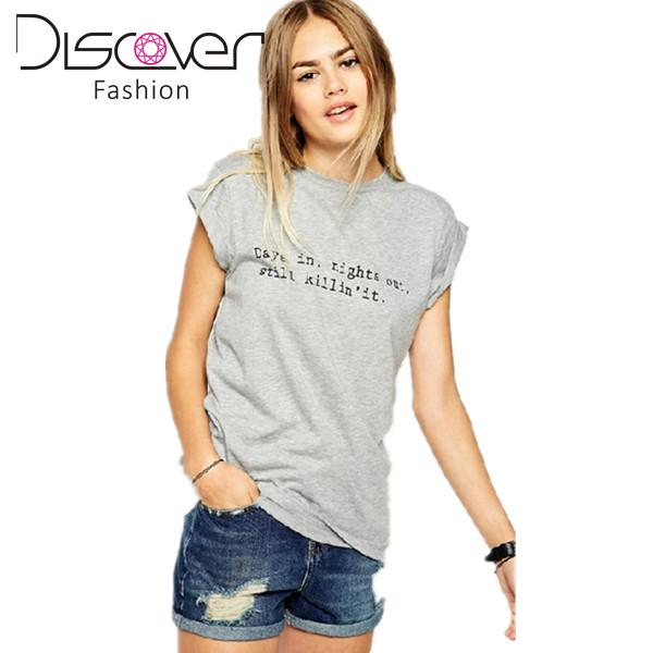 New women tops 2015 letter printed t shirt short rolled up for Women s crew t shirts