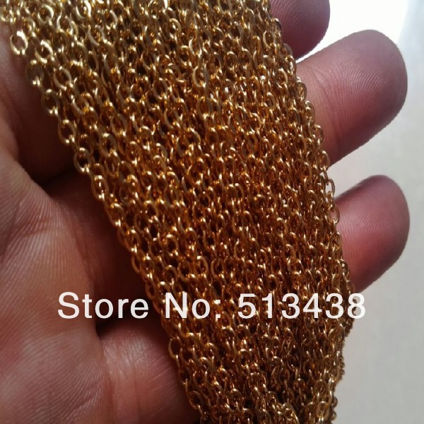 Top selling 10 meters lot thin 2mm gold plated Stainless Steel link chain.jewelry finding.DIY necklace bracelet in bulk(China (Mainland))