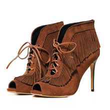 New Open Toe Lace Up Heels Sandals Shoes High Heeled Thin Heels Tassel Shoes Women PU Leather Sexy Pumps Heels Women Pumps Shoes(China (Mainland))