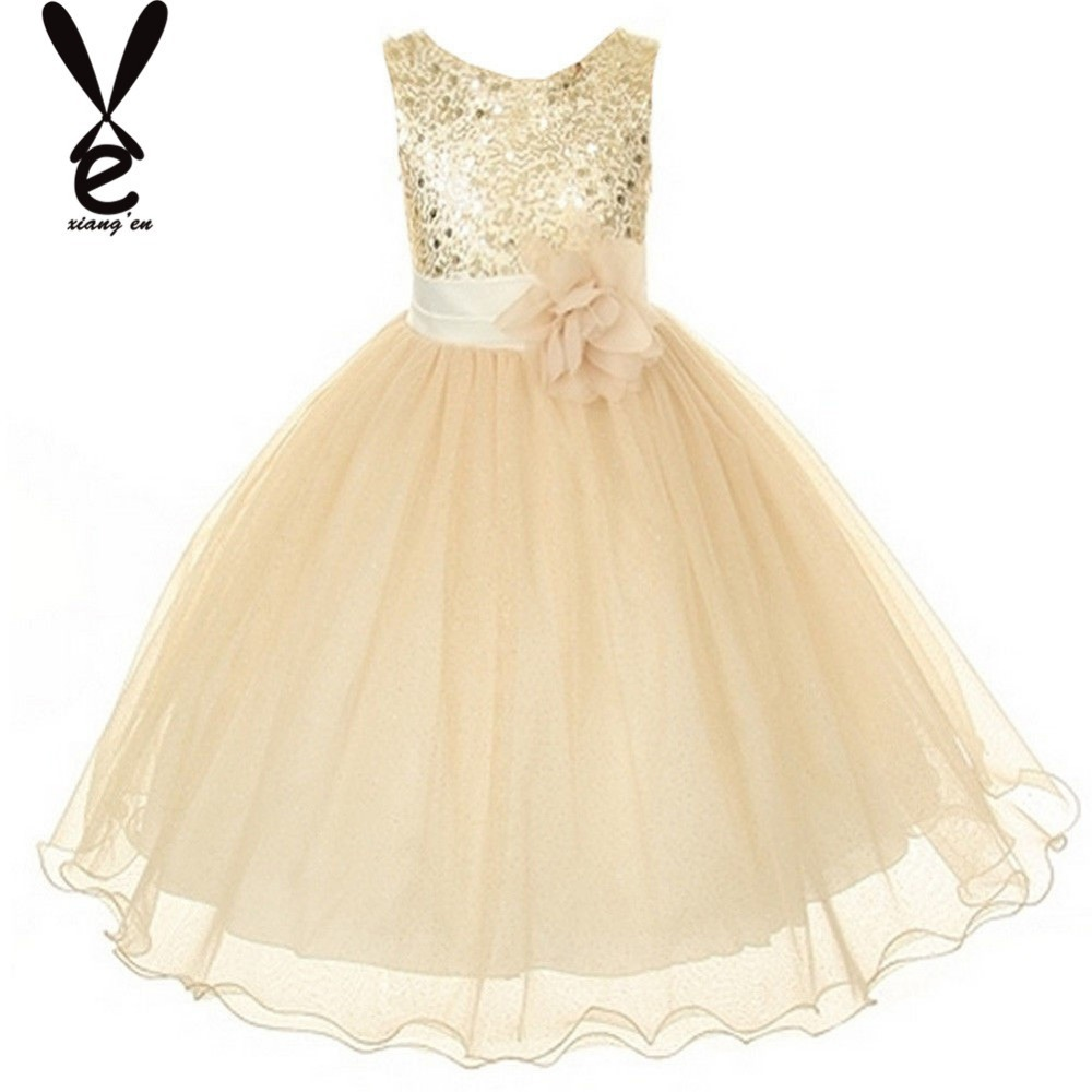2015 Hot sale champagne flower girl dress pageant wedding bridesmaid dance party dress(China (Mainland))