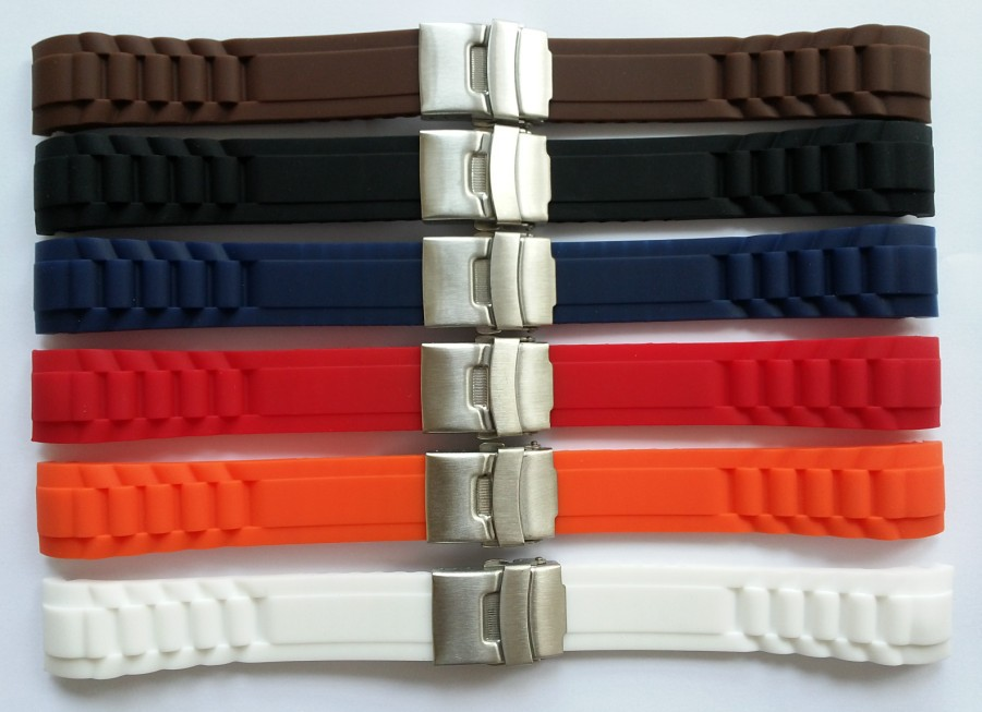 The High Quality 20mm More color Smooth Waterproof Soft rubber Watch Strap,cool man sports Male watch band,mesh watch,diving(China (Mainland))