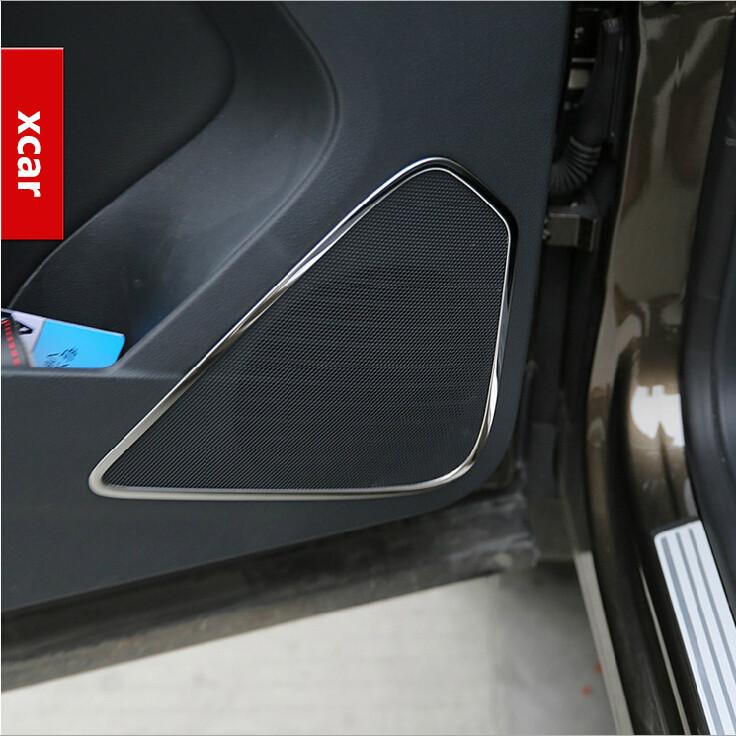 For Volkswagen vw Tiguan 2010-2015 stainless steel trim door audio speaker decoration sticker for tiguan accessories(China (Mainland))