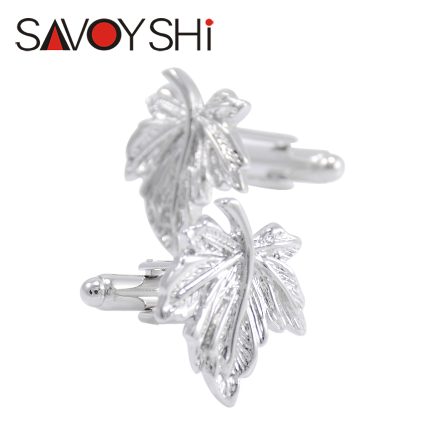 SAVOYSHI Luxury Shirt Cufflink for Mens Brand Cuff buttons Silver Leaf Cuff links High Quality abotoaduras 2016 New HOT Jewelry(China (Mainland))