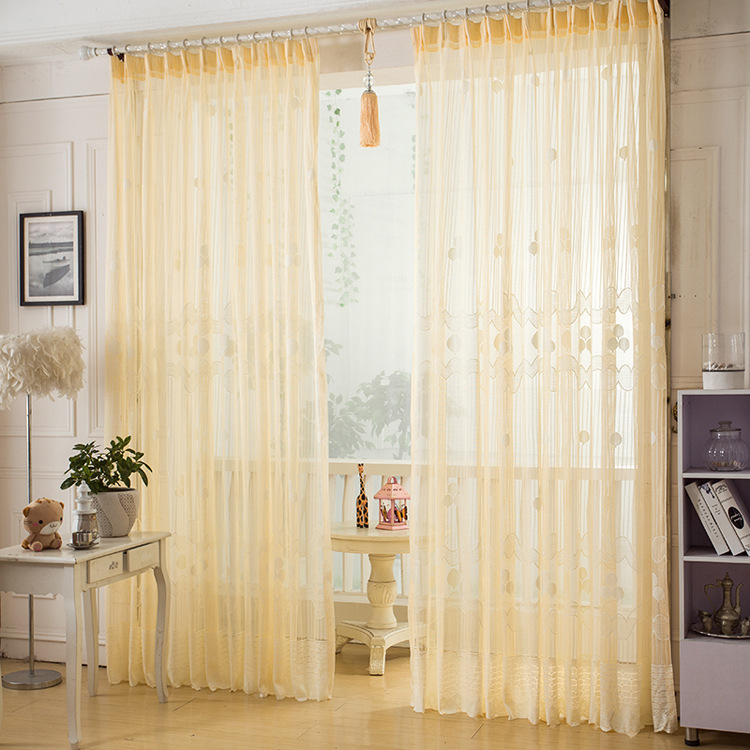 Curtains for living room modern sheer bedroom luxury tulle hanging loop panel and jacquard floral custom made curtains(China (Mainland))